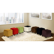 Load image into Gallery viewer, Rainbow Microfiber Storage Ottoman in Yellow Microfiber