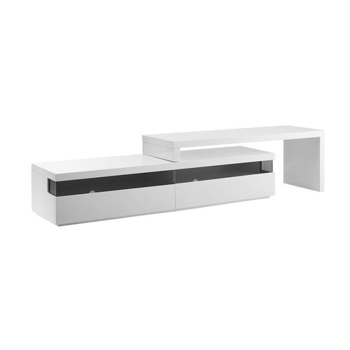 EASY High Gloss White Lacquer Extendable Entertainment Center by Casabianca Home