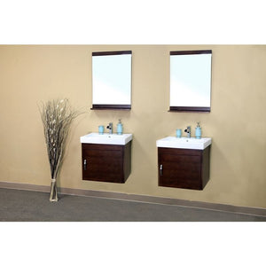 Bellaterra 48.8 In Double Wall Mount Style Sink Vanity Wood  Walnut