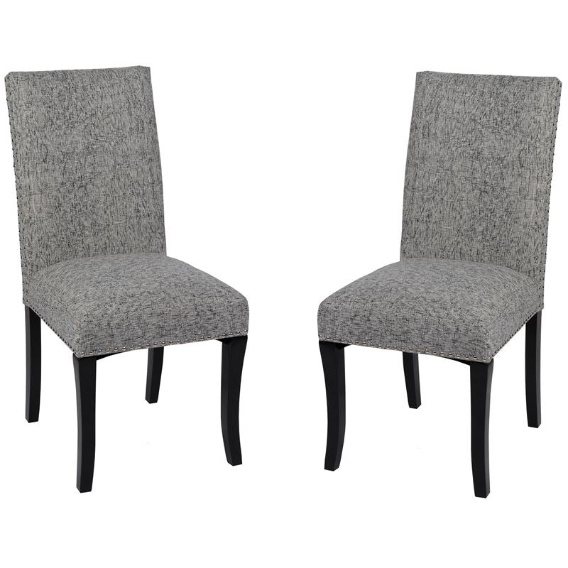 Deborah Accent Nail Side Chair In Ash Fabric - Set of 2