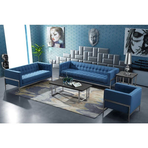 Andre Contemporary Loveseat in Brushed Stainless Steel and Blue Fabric