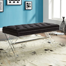 Load image into Gallery viewer, Joanna Ottoman Bench in Black Tufted Velvet with Crystal Buttons and Acrylic Legs