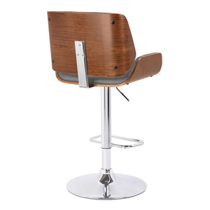 London Contemporary Swivel Barstool in Grey Faux Leather with Chrome and Walnut Wood