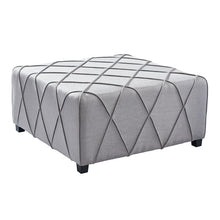 Load image into Gallery viewer, Gemini Contemporary Ottoman in Silver Linen with Piping Accents and Wood Legs
