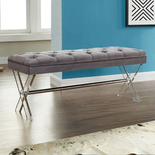 Load image into Gallery viewer, Joanna Ottoman Bench in Gray Tufted Velvet with Crystal Buttons and Acrylic Legs