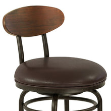 "Load image into Gallery viewer, Davis Mid-Century 30"" Bar Height Metal Swivel Barstool in Auburn Bay Finish with Ford Brown Leather and Sedona Wood Back"