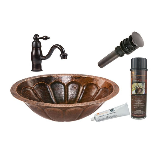 Oval Sunburst Under Counter Hammered Copper Sink with ORB Faucet, Matching Drain
