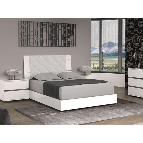 DIAMANTI Light Gray Headboard and High Gloss White Lacquer Queen Bed