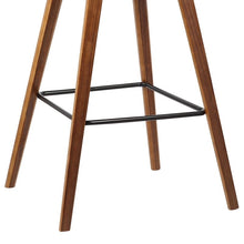 "Load image into Gallery viewer, Fox 30"" Mid-Century Bar Height Barstool in Brown Faux Leather with Walnut Wood"