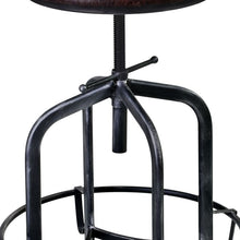 Load image into Gallery viewer, Elena Adjustable Barstool in Industrial Grey Finish with Brown Fabric Seat