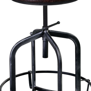 Elena Adjustable Barstool in Industrial Grey Finish with Brown Fabric Seat