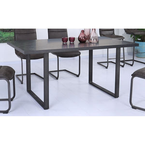 Newark Contemporary Dining Table in Gray Powder Coated Finish and Rusted Black