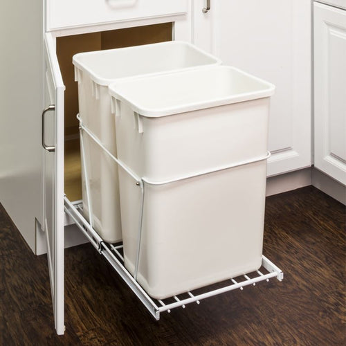 White 35-Quart Double Pullout Waste Container System