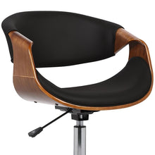 Load image into Gallery viewer, Geneva Mid-Century Office Chair in Chrome finish with Black Faux Leather and Walnut Veneer Arms