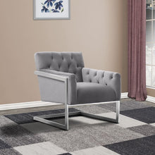 Load image into Gallery viewer, Emily Contemporary Accent Chair in Brushed Stainless Steel with Grey Velvet