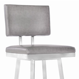 "Balboa 26"" Counter Height Barstool in Brushed Stainless Steel and Vintage Grey Faux Leather"