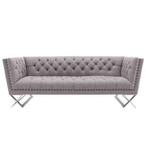Odyssey Sofa in Brushed Stainless Steel finish with Grey Tweed and Black Nail heads