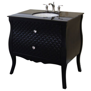 Bellaterra 35.4 In Single Sink Vanity Wood Black