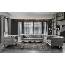 Load image into Gallery viewer, Regis Contemporary Loveseat in Grey Fabric with Black Metal Finish Legs and Antique Brown Nailhead Accents