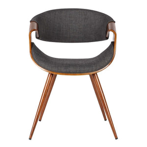 Butterfly Mid-Century Dining Chair in Walnut Finish and Charcoal Fabric