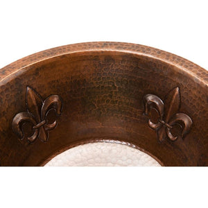 "16"" Round Copper Bar Sink w/ Fleur De Lis and 2"" Drain Size"