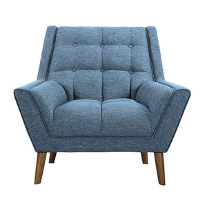 Cobra Mid-Century Modern Chair in Blue Linen and Walnut Legs