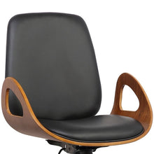 Load image into Gallery viewer, Wallace Mid-Century Office Chair in Chrome finish with Black Faux Leather and Walnut Veneer Back