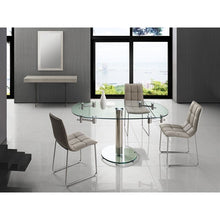 Load image into Gallery viewer, THAO Stainless Steel / Clear Glass Extendable Dining Table by Casabianca Home