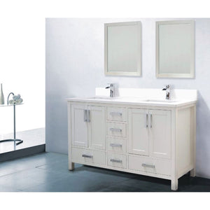 "Adornus Astoria Double Vanity, White, 60"" with Quartz Top"