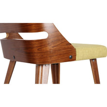 Load image into Gallery viewer, Storm Mid-Century Dining Chair in Walnut Wood and Green Fabric