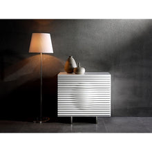 Load image into Gallery viewer, MOON High Gloss White Lacquer Tall Dresser/ Nightstand by Casabianca Home