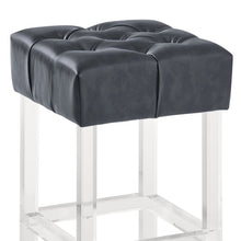 "Load image into Gallery viewer, Kara Contemporary 30"" Bar Height Barstool in Grey Faux Leather with Acrylic Legs"