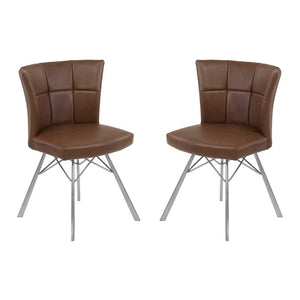 Spago Contemporary Dining Chair in Vintage Coffee Faux Leather with Brushed Stainless Steel Finish - Set of 2
