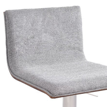 Load image into Gallery viewer, Crystal Barstool in Brushed Stainless Steel finish with Grey Fabric and Walnut Back