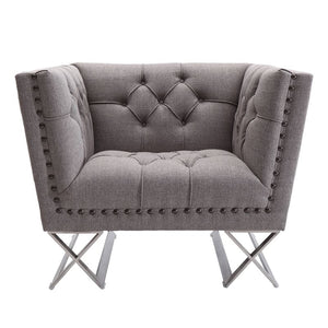 Odyssey Sofa Chair in Brushed Stainless Steel finish with Grey Tweed and Black Nail heads