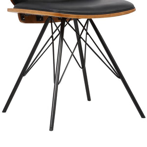 Inez Mid-Century Dining Chair in Black Faux Leather with Black Powder Coated Metal Legs and Walnut Veneer Back