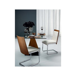 MODELO White Eco-Leather/Walnut Veneer Dining Chair by Casabianca Home