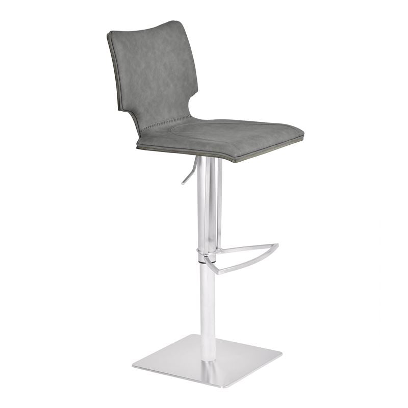 Sydney Adjustable Barstool in Brushed Stainless Steel with Vintage Grey Faux Leather and Grey Walnut Wood Back