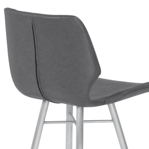"Zurich 26"" Counter Height Metal Barstool in Vintage Gray Faux Leather with Brushed Stainless Steel"