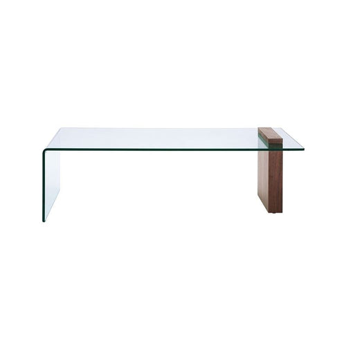 BUONO Walnut Veneer w 1/2 Clear Glass Coffee Table by Casabianca Home
