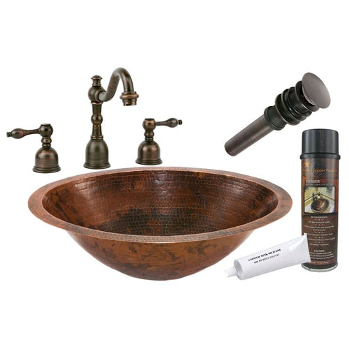 Bath Oval Under Counter Hammered Copper Sink with ORB Widespread Faucet w Drain