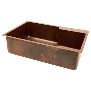 "33"" Hammered Copper Kitchen Single Basin Sink w/ Space For Faucet"