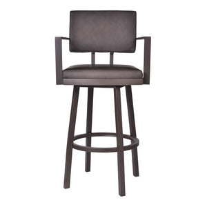 "Balboa 30"" Bar Height Barstool with Arms in a Brown Powder Coated Finish and Vintage Brown Faux Leather"