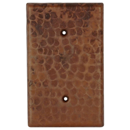 Blank Hand Hammered Copper Switch Plate Cover - Two Hole
