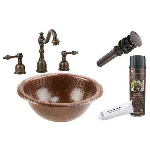 Small Round Self Rimming Hammered Copper Sink with ORB Widespread Faucet w Drain