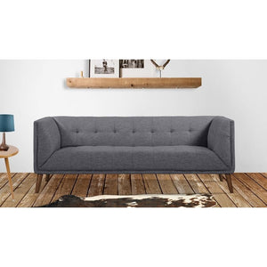 Hudson Mid-Century Button-Tufted Sofa in Dark Gray Linen and Walnut Legs