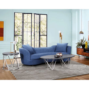 Palisade Contemporary Sofa in Blue Velvet with Brown Wood Legs