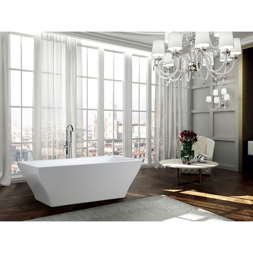 Messina 71 inch Freestanding Bathtub in Glossy White