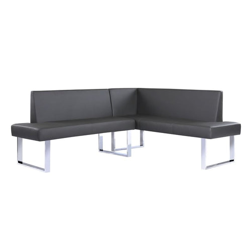 Amanda Contemporary Nook Corner Dining Bench in Gray Faux Leather and Chrome Finish