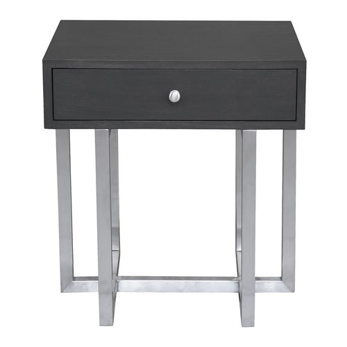 Knight Contemporary Lamp Table in Brushed Stainless Steel Finish with Grey Top